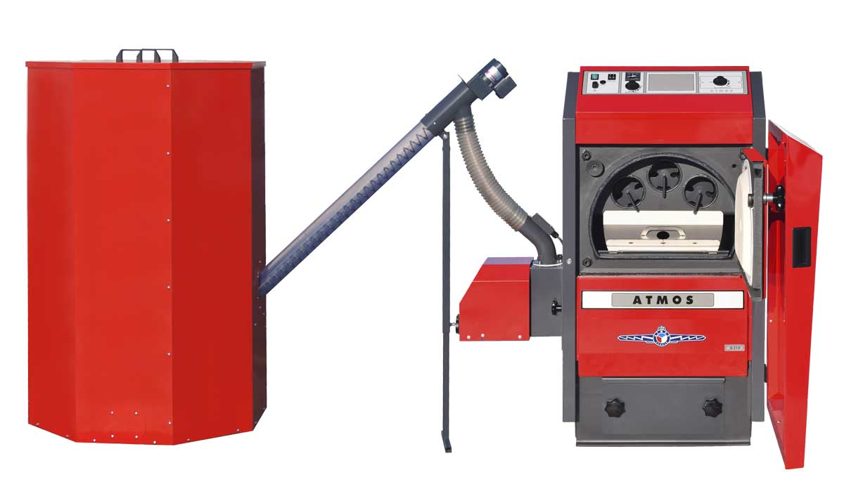 Automaticky kotel na drevene pelety Atmos D21P otevreny a sestaveny
