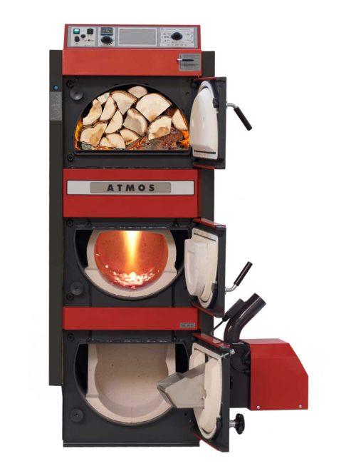 Kombinovany automaticky kotel na drevo a drevene pelety Atmos SP
